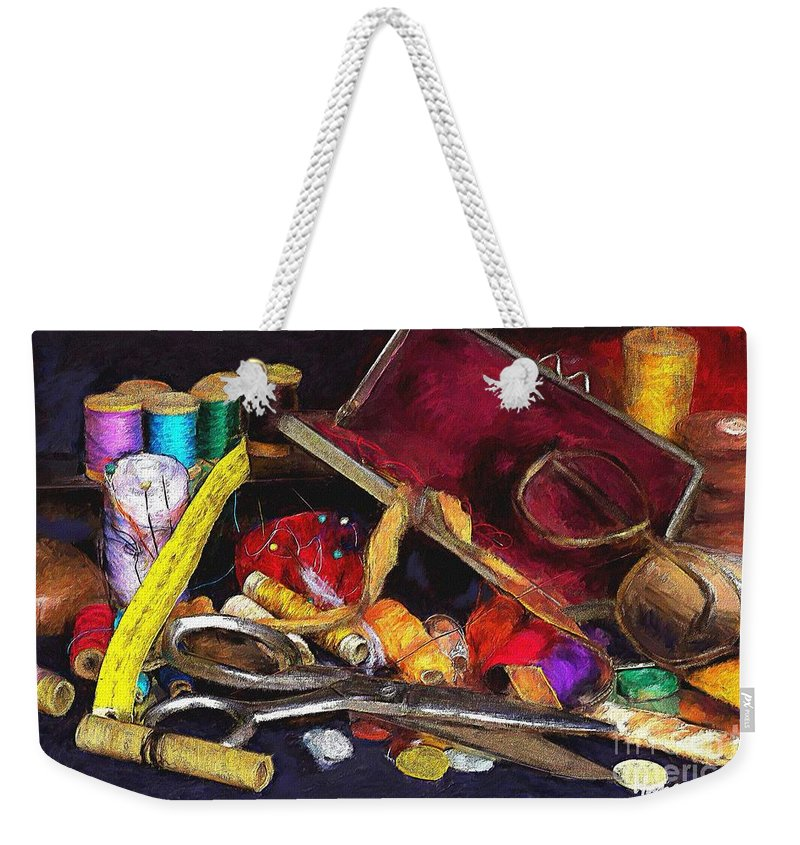 Sew Weekender Tote Bag featuring the painting The Sewing Room by Mia Hansen