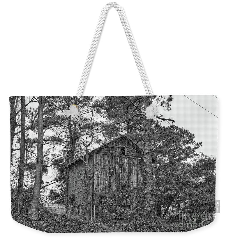 Architecture Weekender Tote Bag featuring the photograph The Shack In Black And White by Kathy Baccari