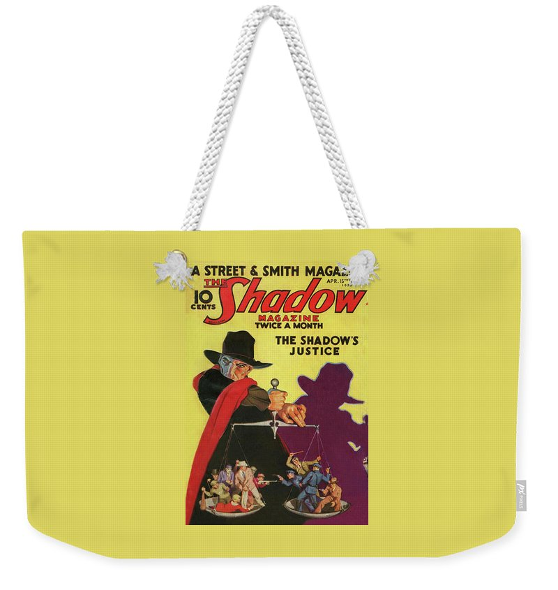 The Shadow Weekender Tote Bag featuring the painting The Shadow The Shadows Justice by Conde Nast