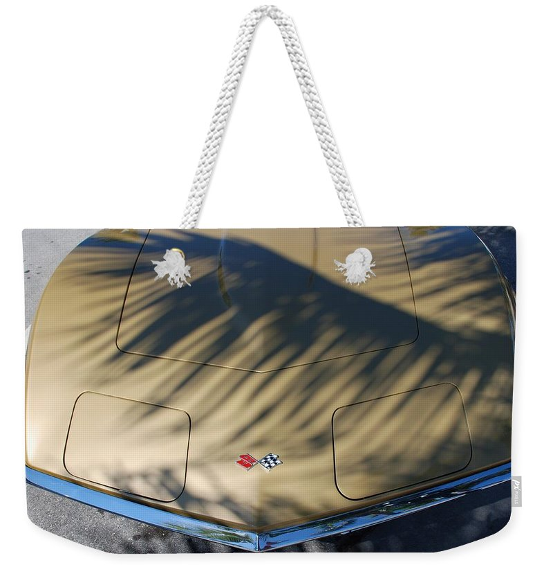 Corvette Weekender Tote Bag featuring the photograph The Shadow Vette by Rob Hans