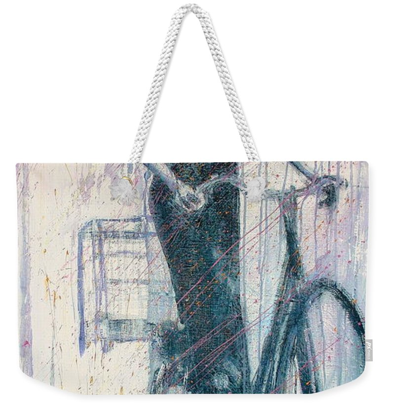 Portrait Art Weekender Tote Bag featuring the painting The She Wolf by Jarmo Korhonen aka Jarko