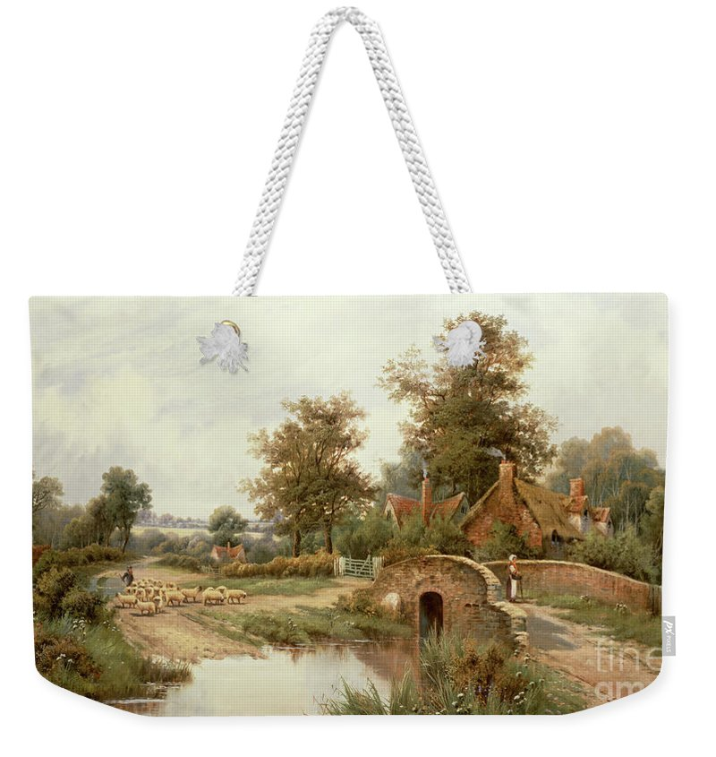 The Sheep Drover By Octavius Clark Weekender Tote Bag featuring the painting The Sheep Drover by Thomas Octavius Clark