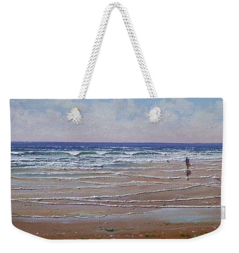 Seascape Weekender Tote Bag featuring the painting The Shell Collector by Frank Wilson