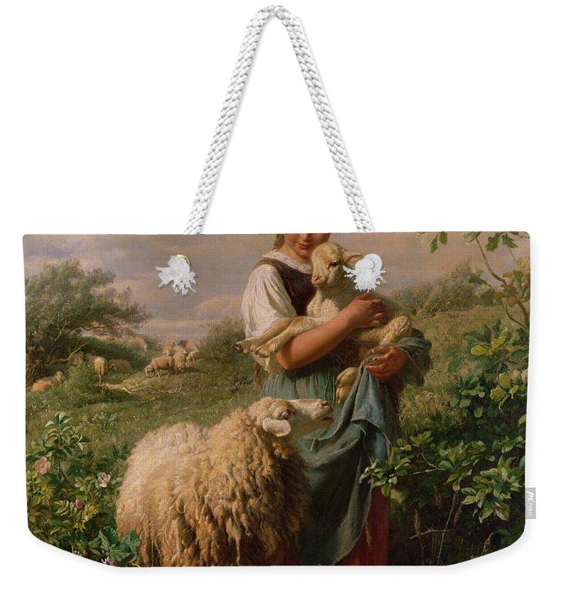 Shepherdess Weekender Tote Bag featuring the painting The Shepherdess by Johann Baptist Hofner