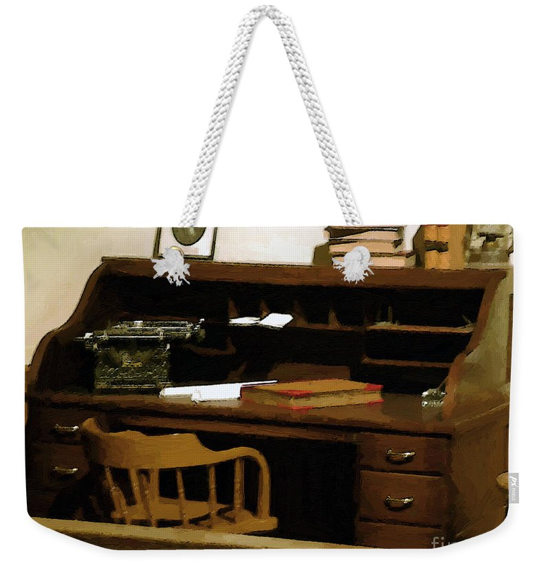 Antiques Weekender Tote Bag featuring the digital art The Sheriff Is Out by RC deWinter