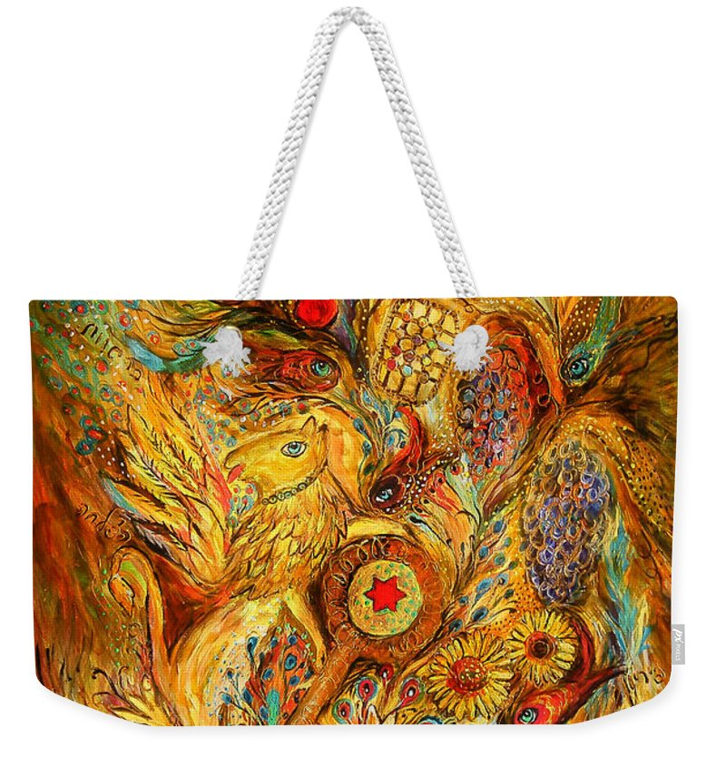 Original Weekender Tote Bag featuring the painting The Shining Of Gold by Elena Kotliarker