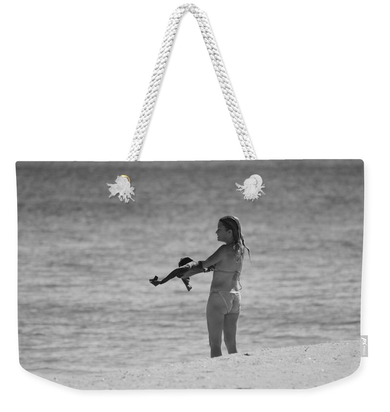 Black And White Weekender Tote Bag featuring the photograph The Shirt by Rob Hans