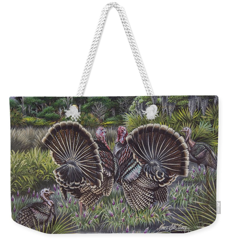 Hunting Weekender Tote Bag featuring the painting The Showoffs by Monica Turner