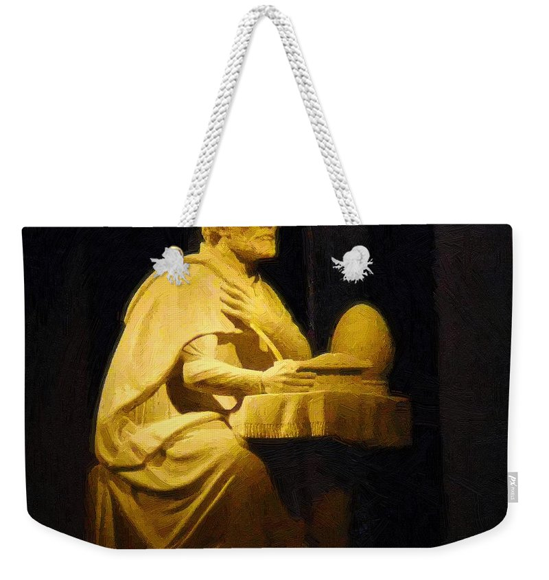 Augustine Weekender Tote Bag featuring the painting The Sinner Who Became A Saint by RC DeWinter