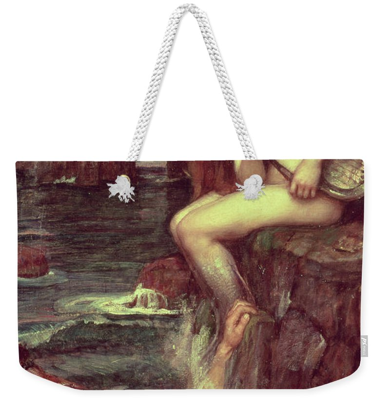 The Siren Weekender Tote Bag featuring the painting The Siren by John William Waterhouse