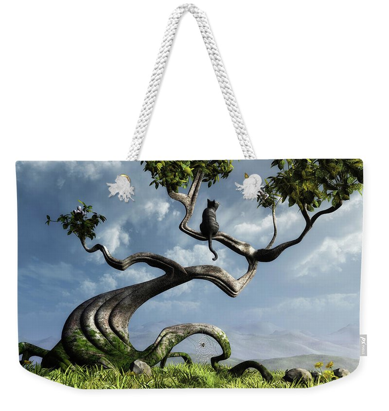 Whimsical Weekender Tote Bag featuring the digital art The Sitting Tree by Cynthia Decker