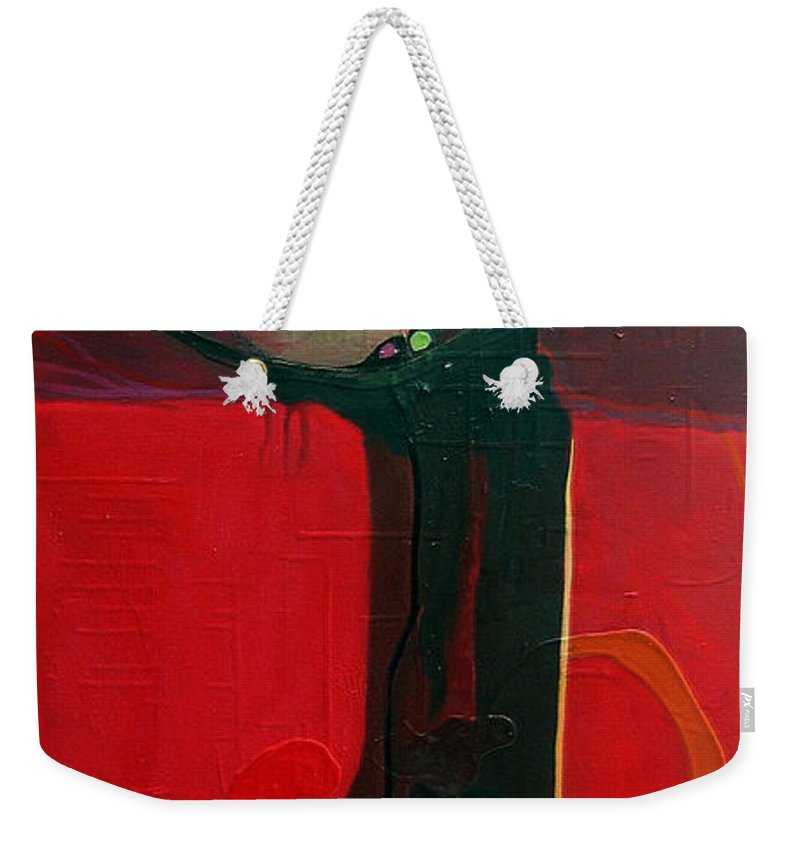 Abstract Weekender Tote Bag featuring the painting The Skinny by Marlene Burns