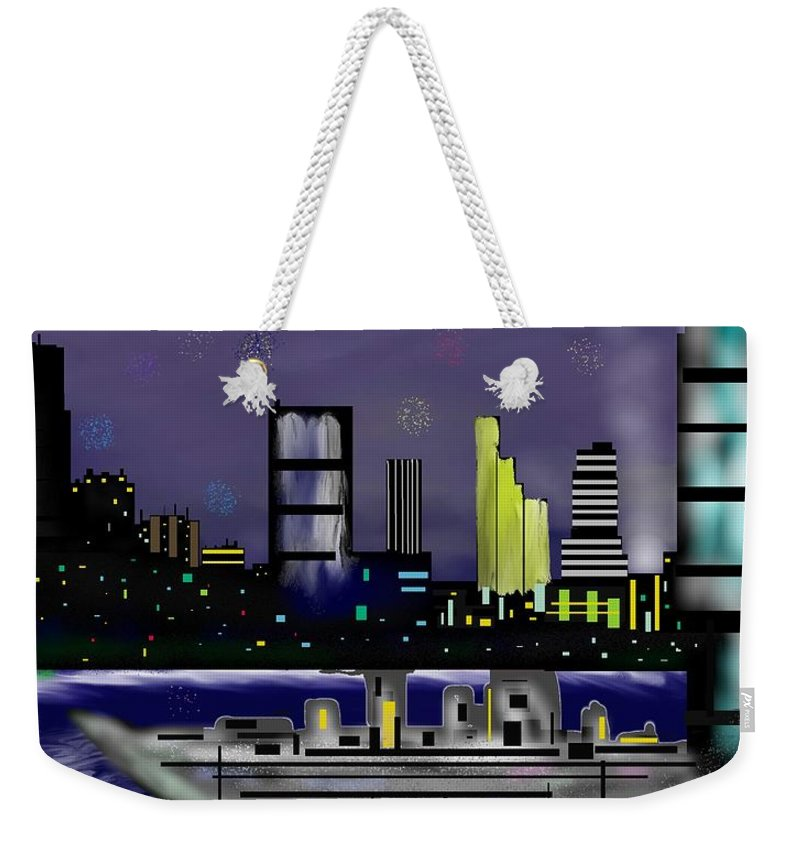 Cityscapes Weekender Tote Bag featuring the digital art The Sky Is The Limit by Abel Padilla