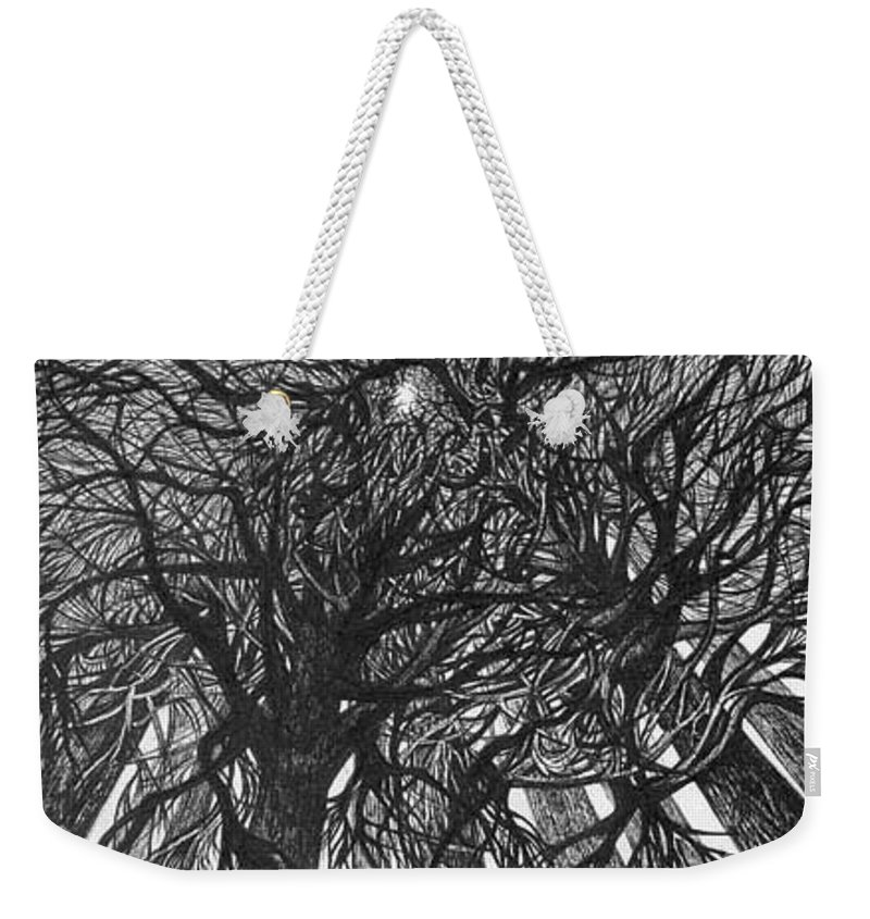 Pen And Ink Weekender Tote Bag featuring the drawing The Skyscrapers Of The Forest by Anna Duyunova
