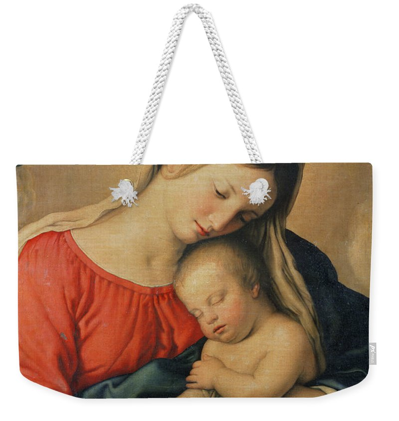 Mary Weekender Tote Bag featuring the painting The Sleeping Christ Child by Il Sassoferrato