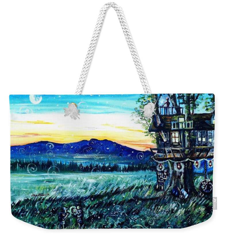 Treehouse Weekender Tote Bag featuring the painting The Sleepover by Shana Rowe Jackson