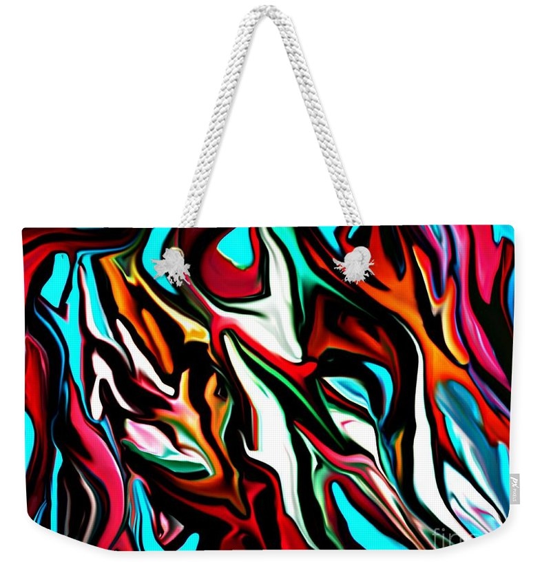 Abstract Weekender Tote Bag featuring the digital art The Smearing Of The Paint 7-02-09 by David Lane