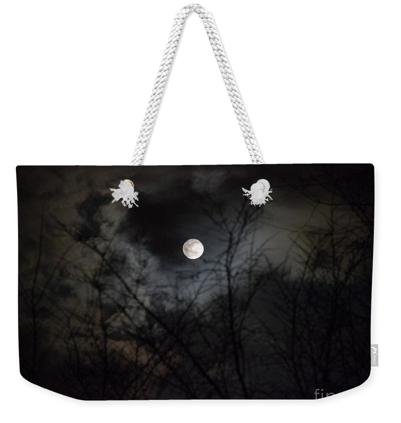 Full Moon Weekender Tote Bag featuring the photograph The Snow Moon by Rebecca Pavelka