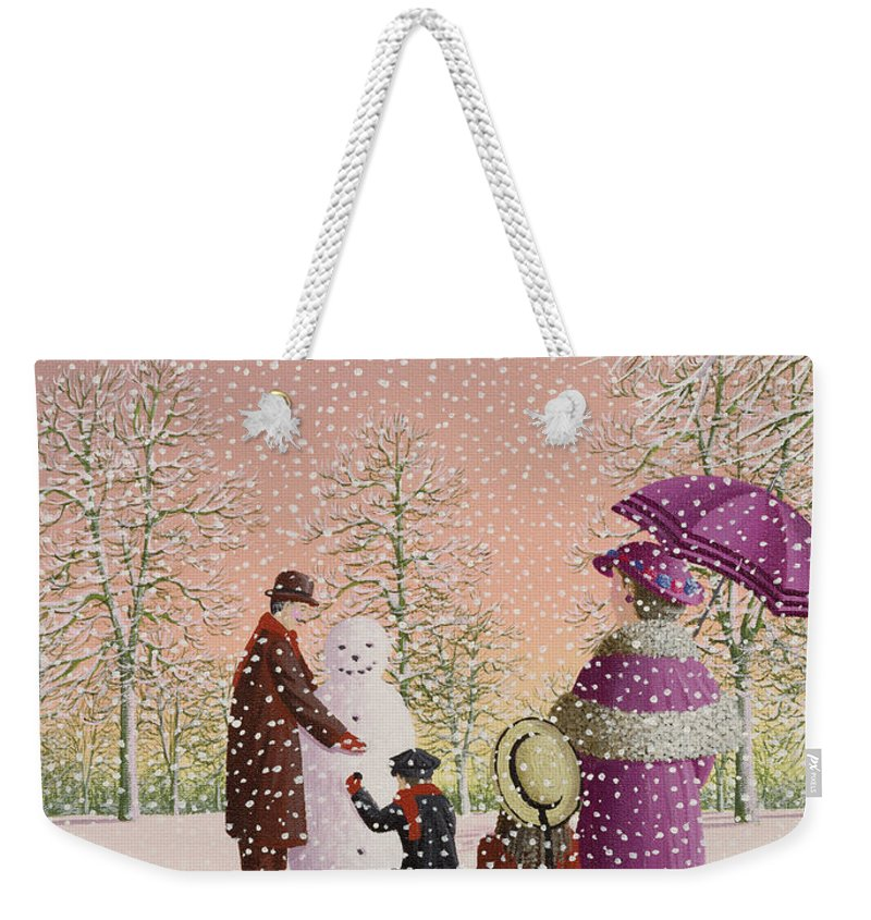 Snowman; Snow; Snowing; Winter; Cold; Woman; Umbrella; Parasol; Child; Children; Man; Playing; Outside; Landscape; Tree Weekender Tote Bag featuring the painting The Snowman by Peter Szumowski
