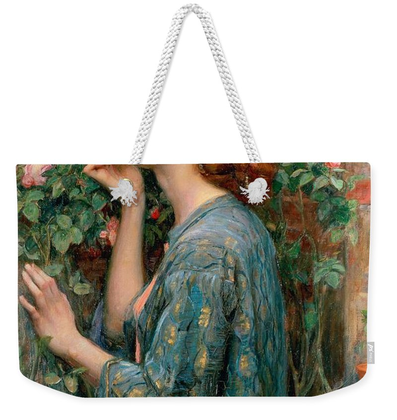 The Weekender Tote Bag featuring the painting The Soul of the Rose by John William Waterhouse