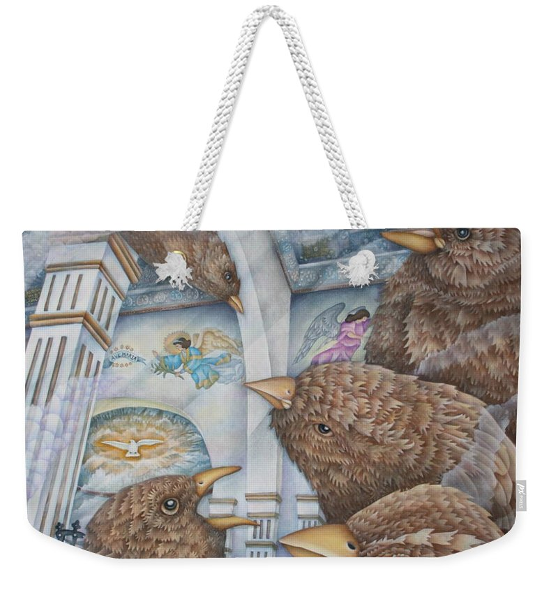 Birds Weekender Tote Bag featuring the painting The Sparrows Of San Elizario by Jeniffer Stapher-Thomas