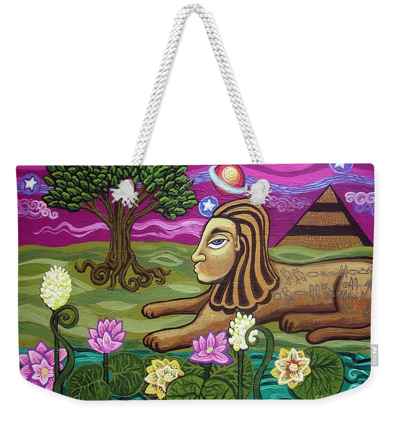 Egypt Weekender Tote Bag featuring the painting The Sphinx by Genevieve Esson