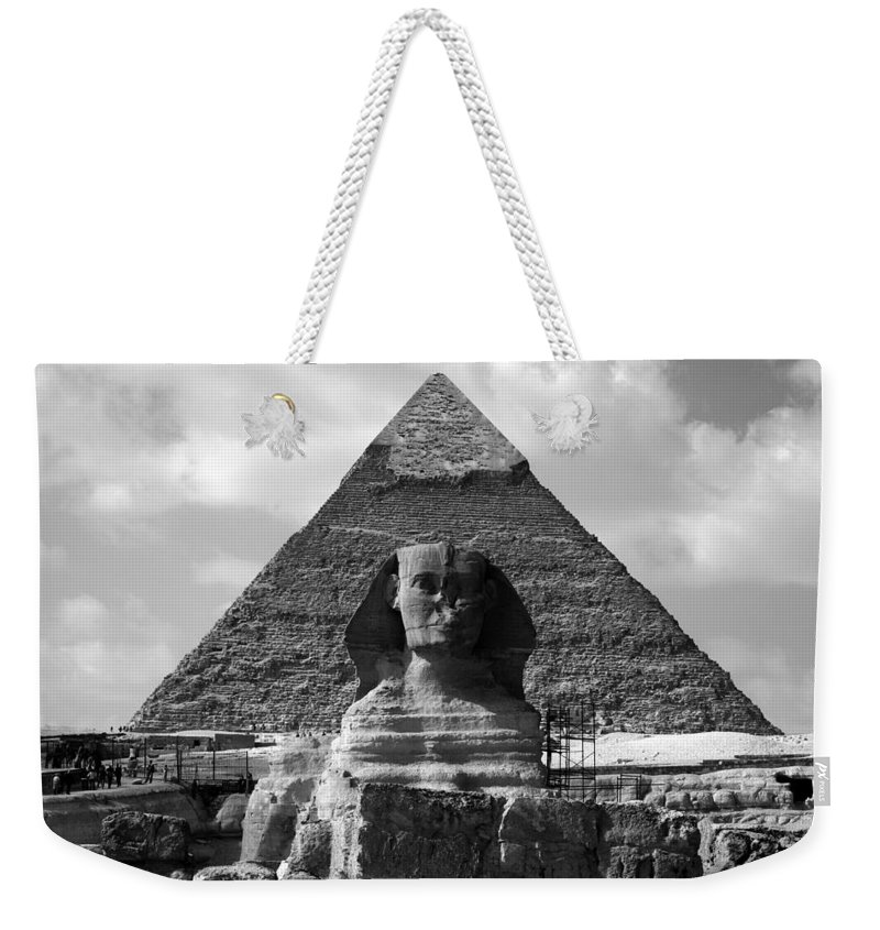 Pyramid Weekender Tote Bag featuring the photograph The Sphynx And The Pyramid by Donna Corless