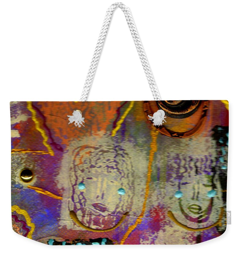Clay Weekender Tote Bag featuring the mixed media The Spiral Of Life by Angela L Walker