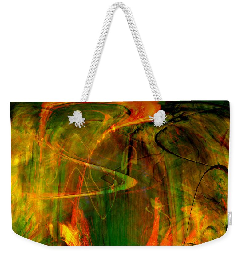 Abstract Digital Abstract Digital Painting Digital Art Design Dark Art Vibrant Art Yellow Weekender Tote Bag featuring the digital art The Spirit Glows by Linda Sannuti