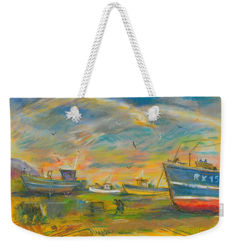 Pastel Weekender Tote Bag featuring the pastel The Spirit Of Hastings by Sveatoslav Zacon