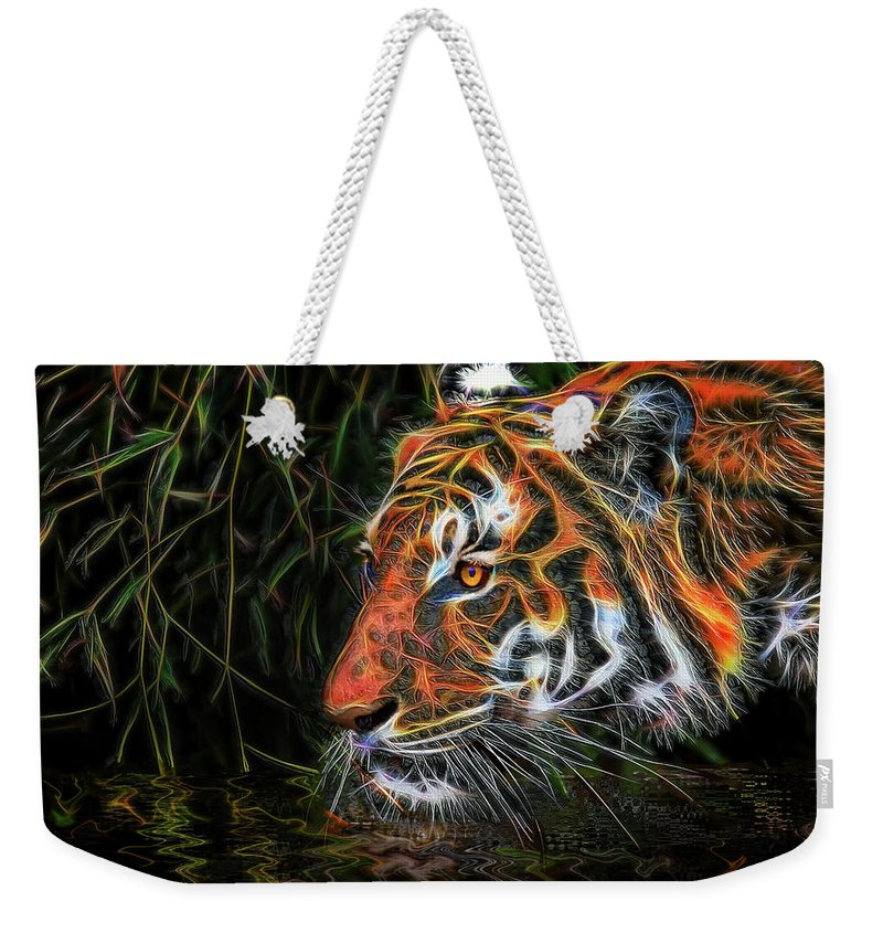 Tiger Weekender Tote Bag featuring the mixed media The Spirit Of The Tiger by Michael Durst