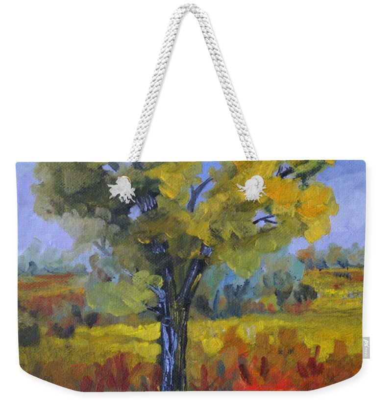 Spring Weekender Tote Bag featuring the painting The Spring Tree by Heather Coen