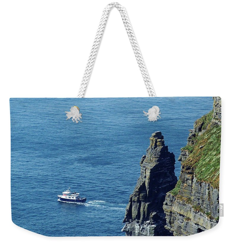Irish Weekender Tote Bag featuring the photograph The Stack And The Jack B Cliffs Of Moher Ireland by Teresa Mucha