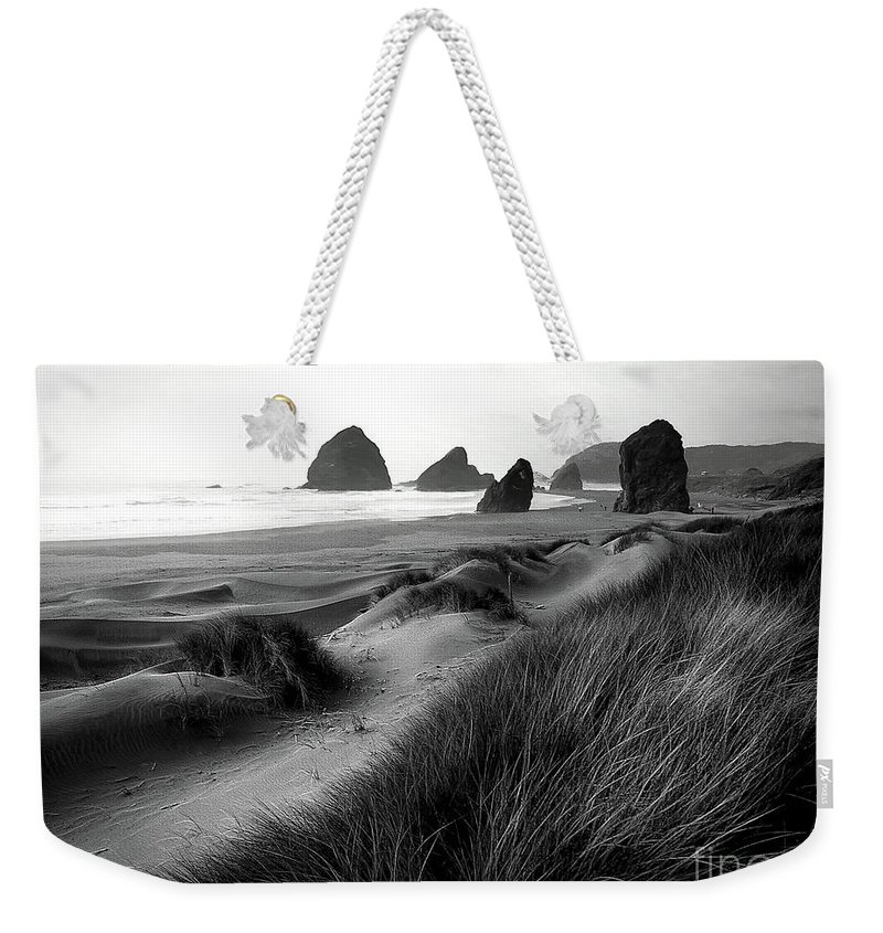 Beach Weekender Tote Bag featuring the photograph The Stacks Bw by Mike Nellums