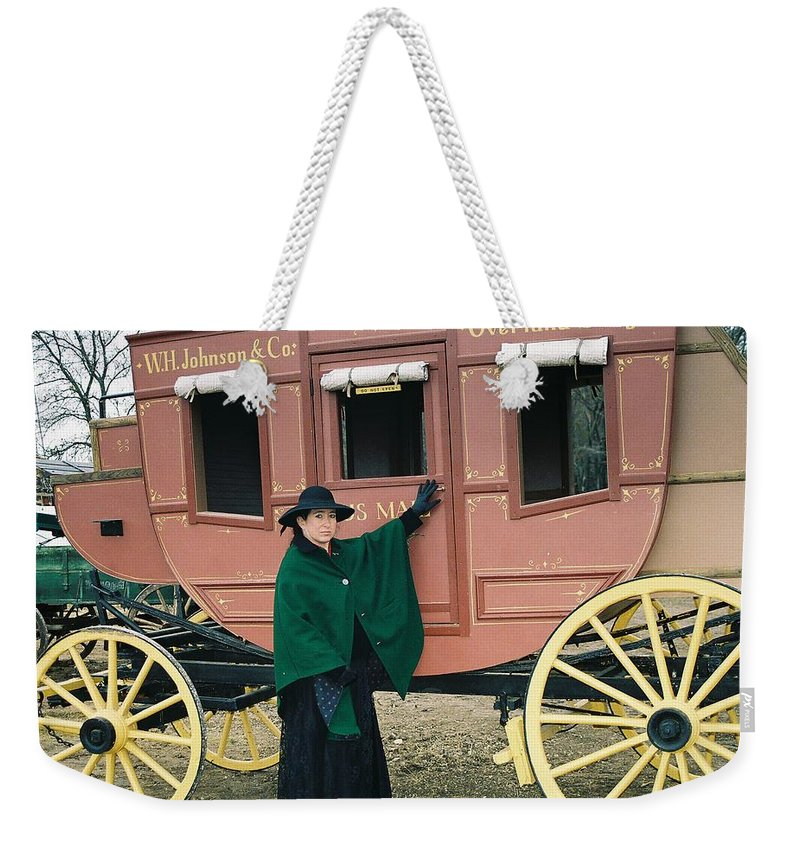 Stage Old West Lady 1880's Weekender Tote Bag featuring the photograph The Stage by Cindy New