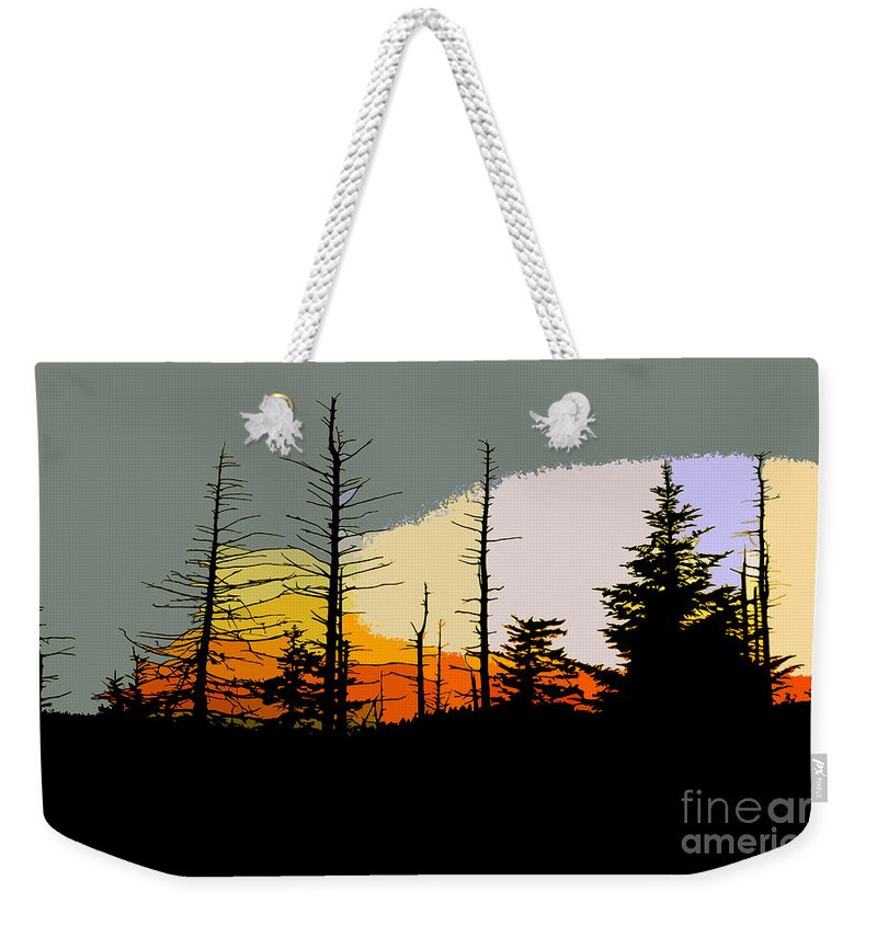 Forest Weekender Tote Bag featuring the painting The Stained Glass Forest by David Lee Thompson