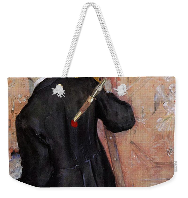 Altered Art Weekender Tote Bag featuring the digital art The Still-life Painter by John Saunders