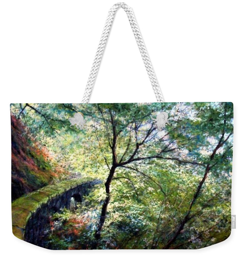Pastel Weekender Tote Bag featuring the painting The Stone Wall by Jim Gola