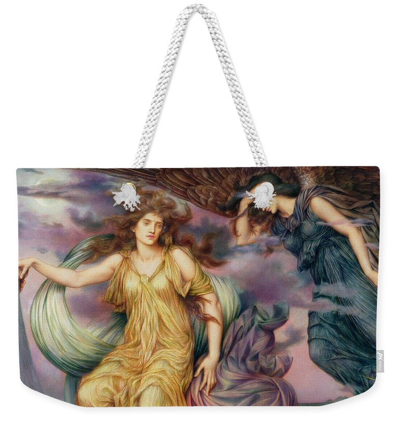 Evelyn Weekender Tote Bag featuring the painting The Storm Spirits-detail-1 by Evelyn De Morgan