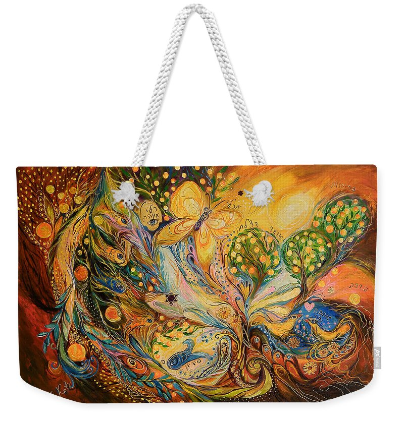 Original Weekender Tote Bag featuring the painting The Story Of The Orange Garden by Elena Kotliarker