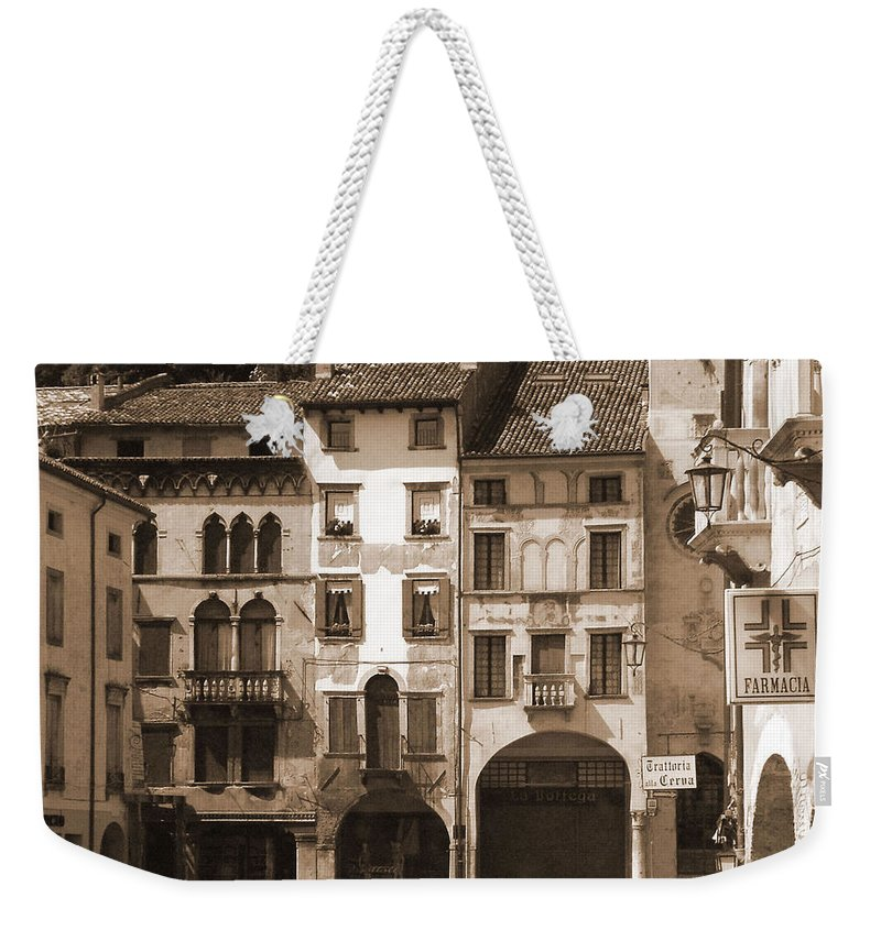 Landscape Weekender Tote Bag featuring the photograph The Streets Of Vittorio Veneto by Donna Corless