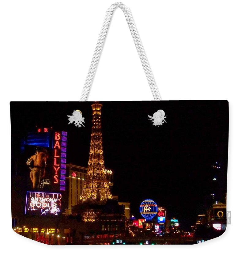 Vegas Weekender Tote Bag featuring the photograph The Strip At Night 1 by Anita Burgermeister