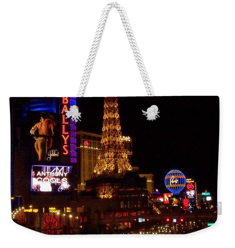 Vegas Weekender Tote Bag featuring the photograph The Strip At Night 2 by Anita Burgermeister