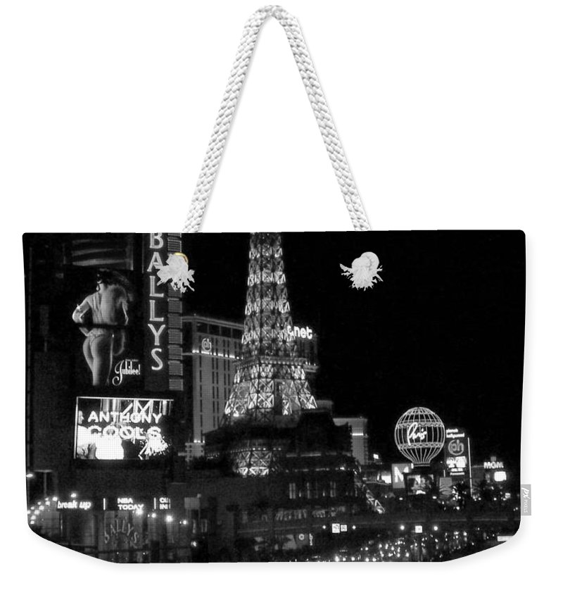 Las Vegas Strip Weekender Tote Bag featuring the photograph The Strip By Night B-w by Anita Burgermeister