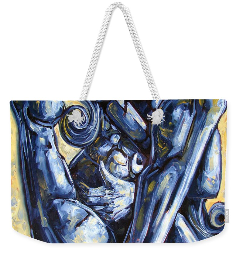 Nude Weekender Tote Bag featuring the painting The Struggle by Darwin Leon