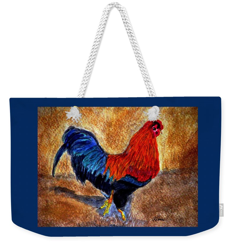 Bantam Rooster Weekender Tote Bag featuring the painting The Strut by Angela Davies