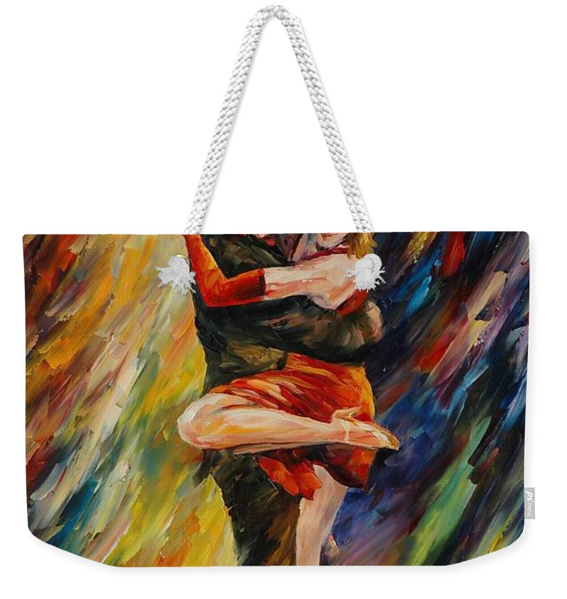 Dance Weekender Tote Bag featuring the painting The Sublime Tango by Leonid Afremov