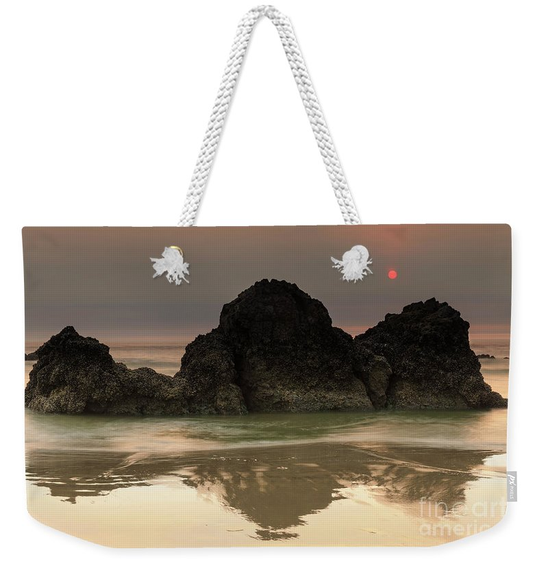 Red Weekender Tote Bag featuring the photograph The Sun And Rocks by Masako Metz