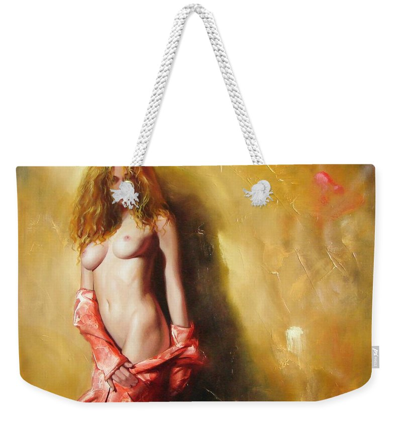 Art Weekender Tote Bag featuring the painting The Sun In Red by Sergey Ignatenko