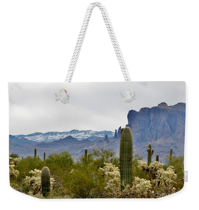 Desert Weekender Tote Bag featuring the photograph The Superstitions Landscape by Marilyn Smith